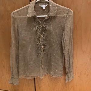 Raw Edge Cynthia Rowley tuxedo blouse